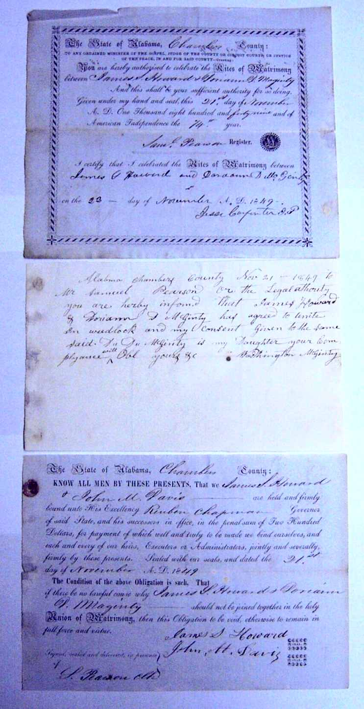 Alabama usgenweb archives chambers county vital records mcginty doriann d howard james s marriage license 1849 xflitez Choice Image