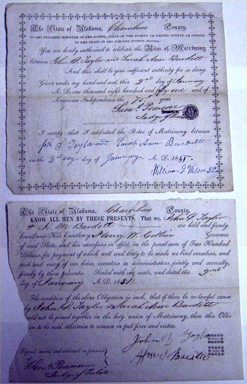 Alabama usgenweb archives chambers county vital records burdett sarah ann taylor john duke 1851 xflitez Choice Image