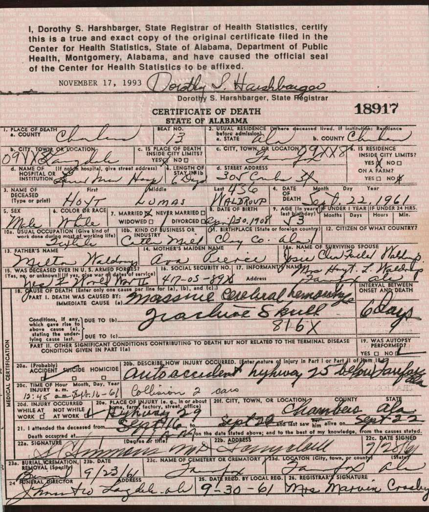Alabama usgenweb archives chambers county vital records waldrop hoyt death certificate september 22 1961 xflitez Choice Image