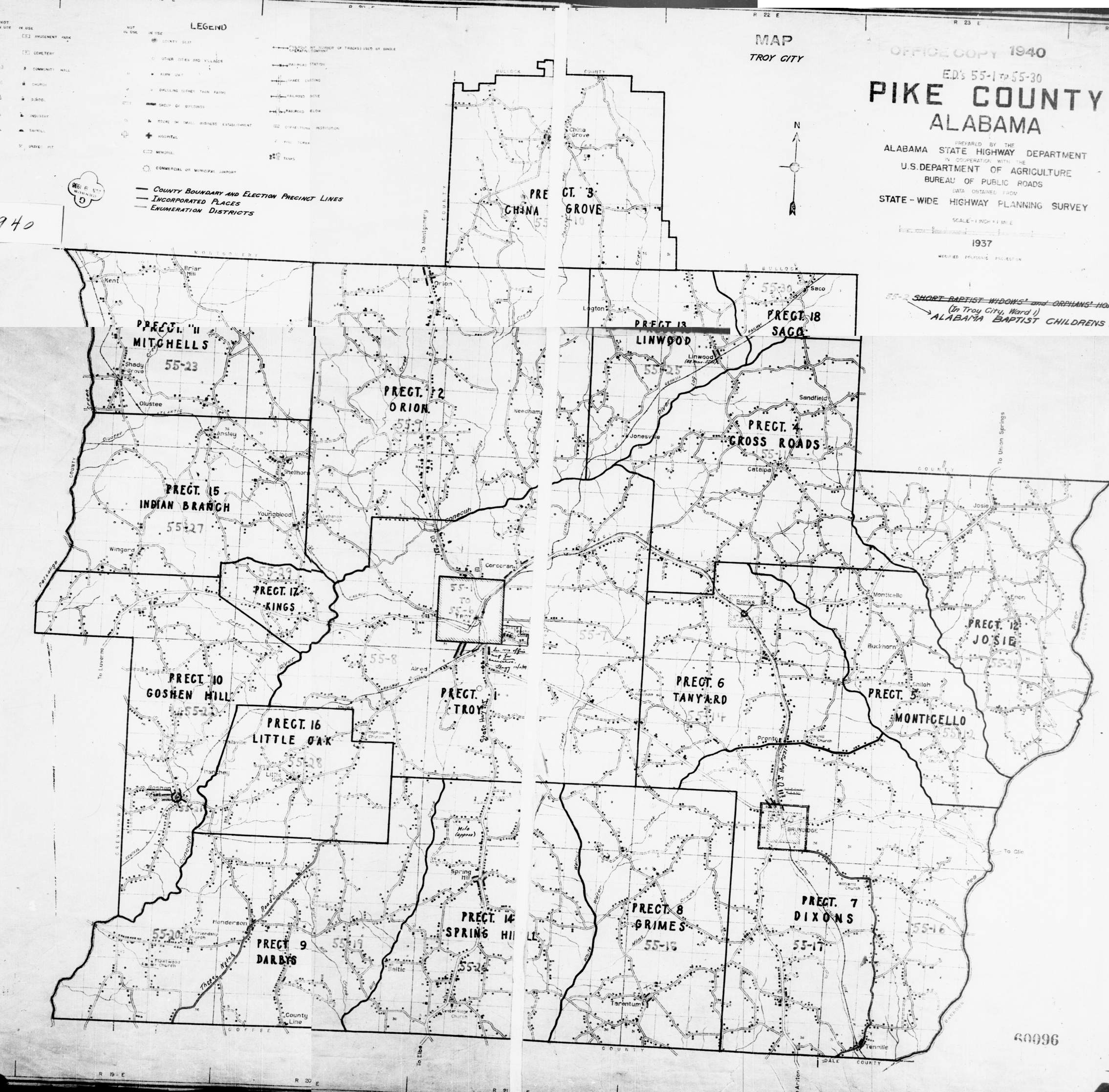 1940 Pike County Enumeration Districts Single Map