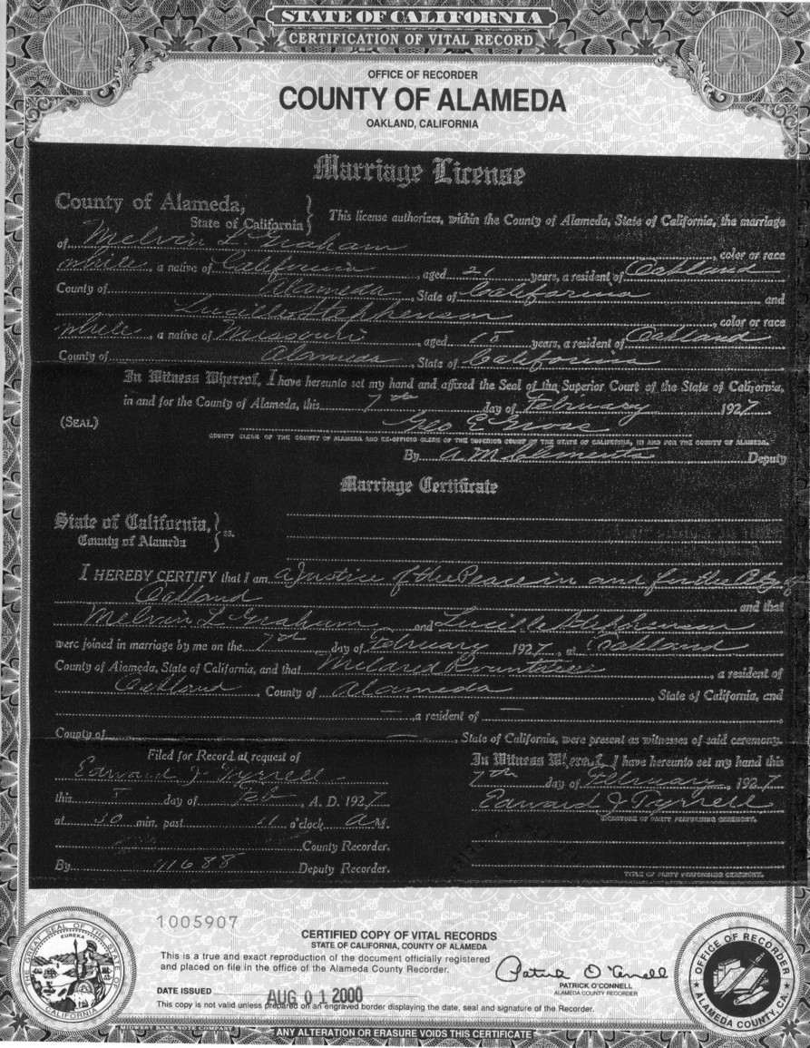 Alameda county california marriage records graham melvin stephenson lucille marriage february 27 xflitez Images