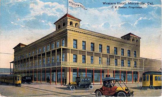 Western Hotel Marysville 1911 Penny Postcards From Yuba County California
