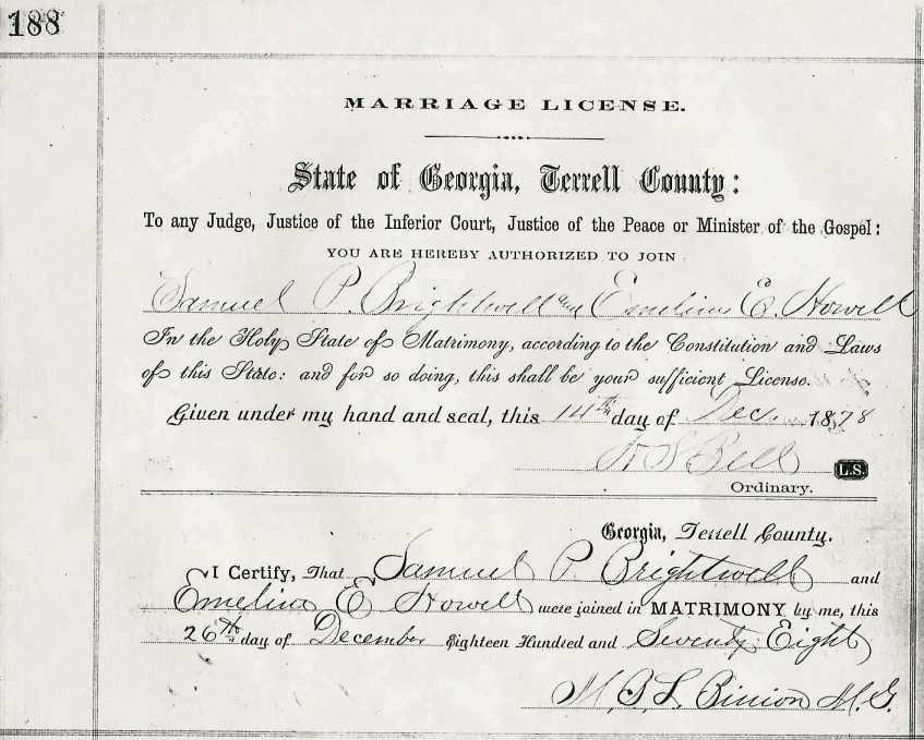 Washington To Worth County Georgia Marriage Records