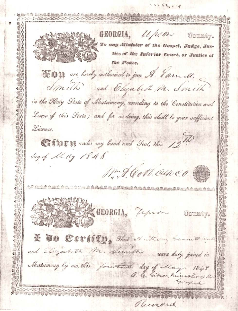 Upson county georgia usgenweb archives smith elizabeth smith anthony garnett marriage certificate may 14 1848 aiddatafo Choice Image
