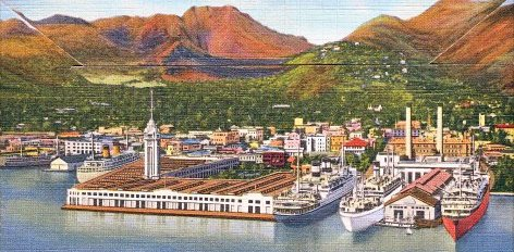 Postcard of the Aloha Tower in Honolulu