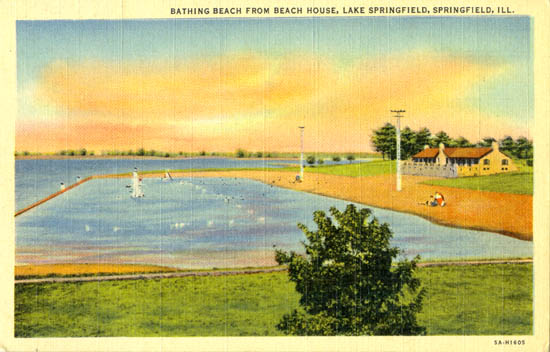 Springfield IL The Bathing Beach at Lake Springfield 1940