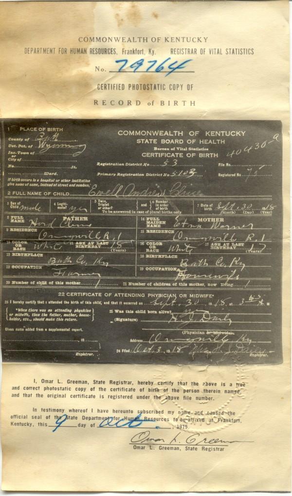 Bath County Kentucky Birth Certificate Photos
