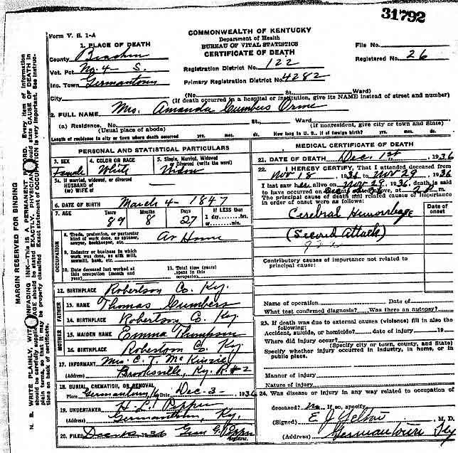 Bracken County, Kentucky USGenWeb Free Genealogy Death Certificate ...