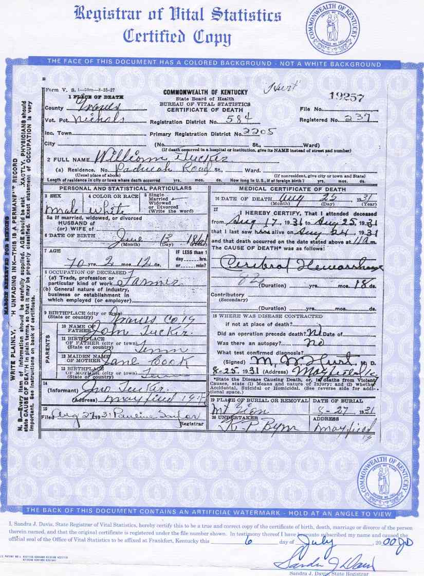 Graves co ky archives toc gph40tuckerwig william tucker death certificate xflitez Gallery