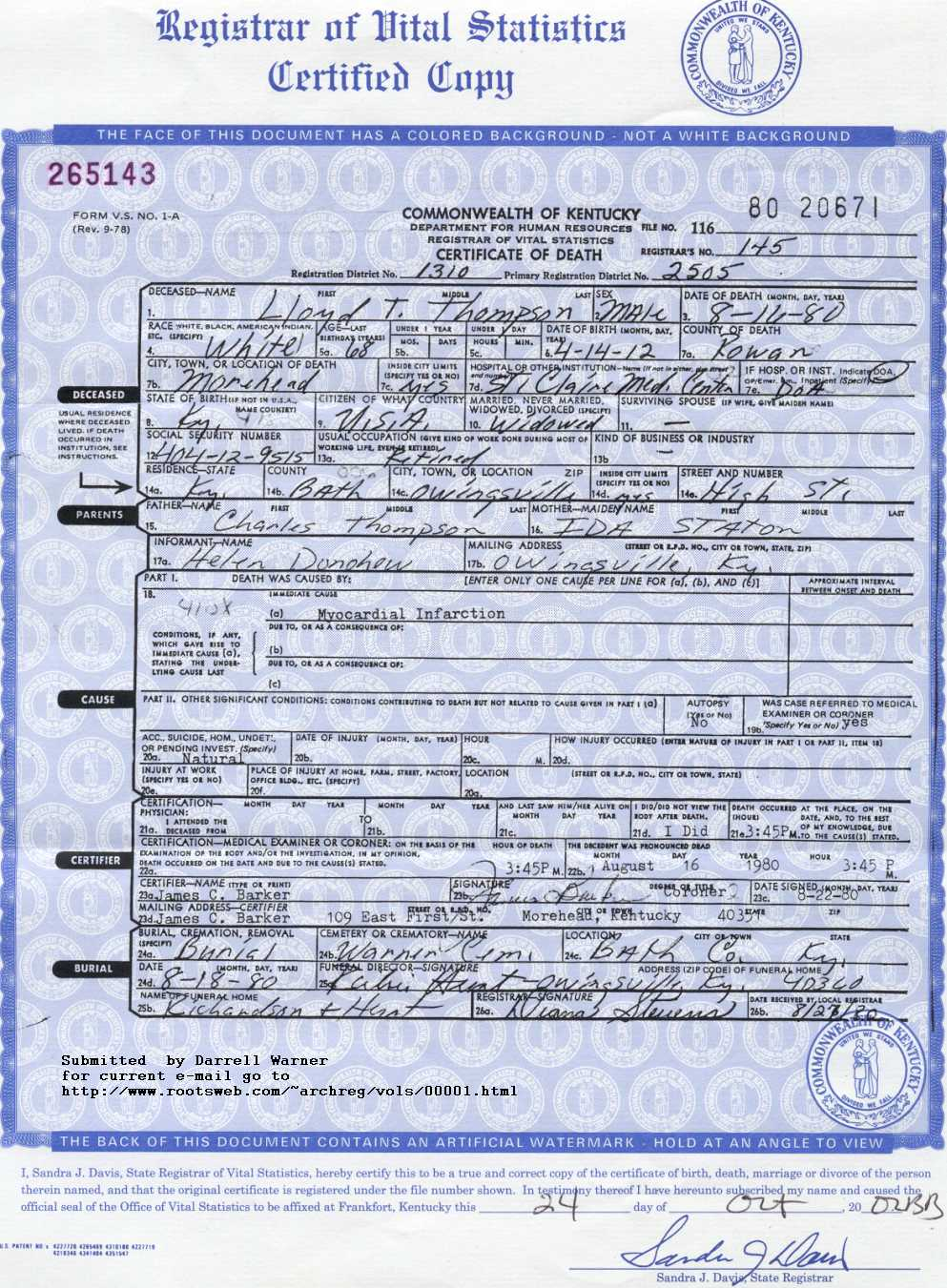 Rowan county ky vitals death certificate aiddatafo Images