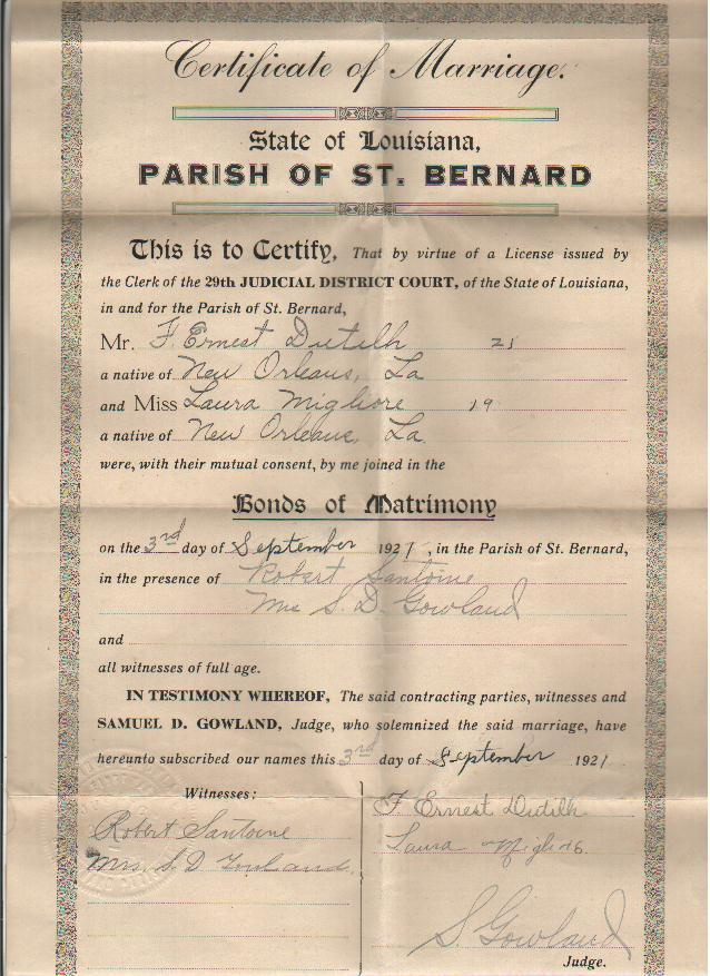 Groom Marriage Certificates Orleans Parish Archives - LAGENWEB ...