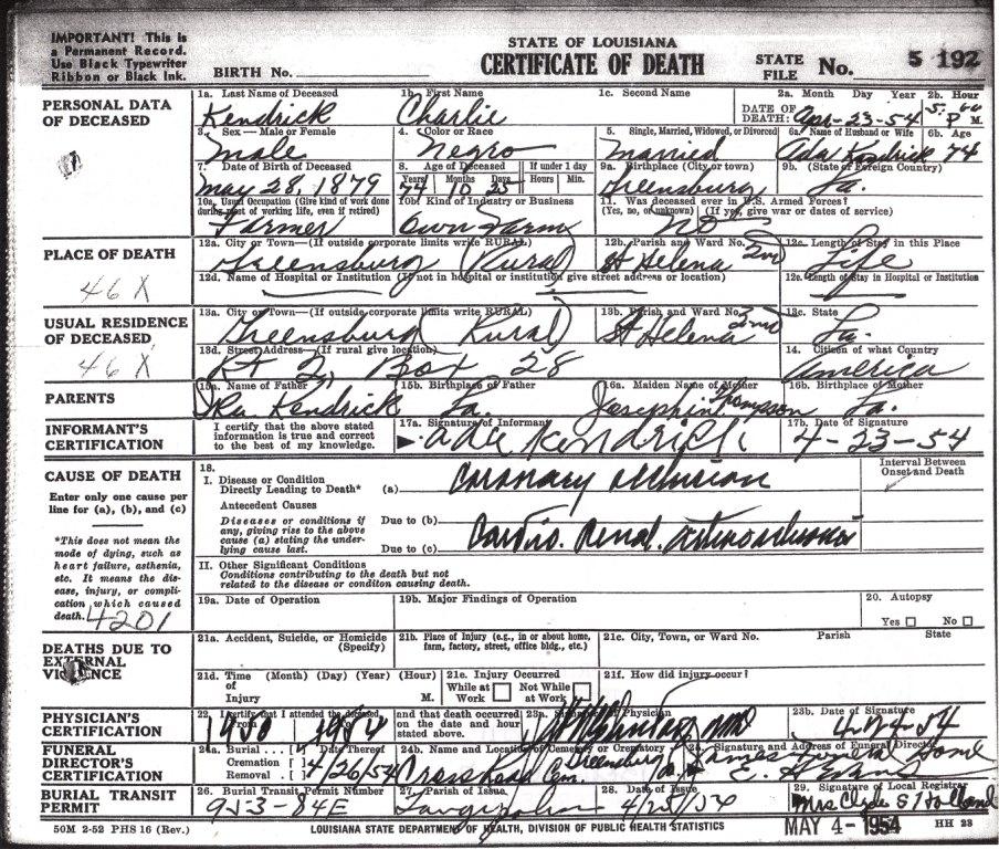 Death Certificates St Helena Parish