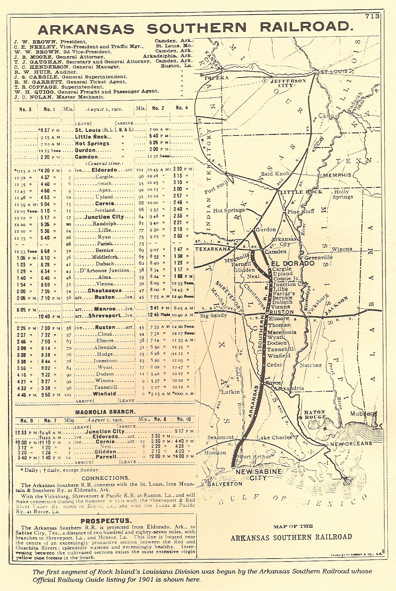 1901 Map of the Arkansas Southern Railroad through Union Parish
