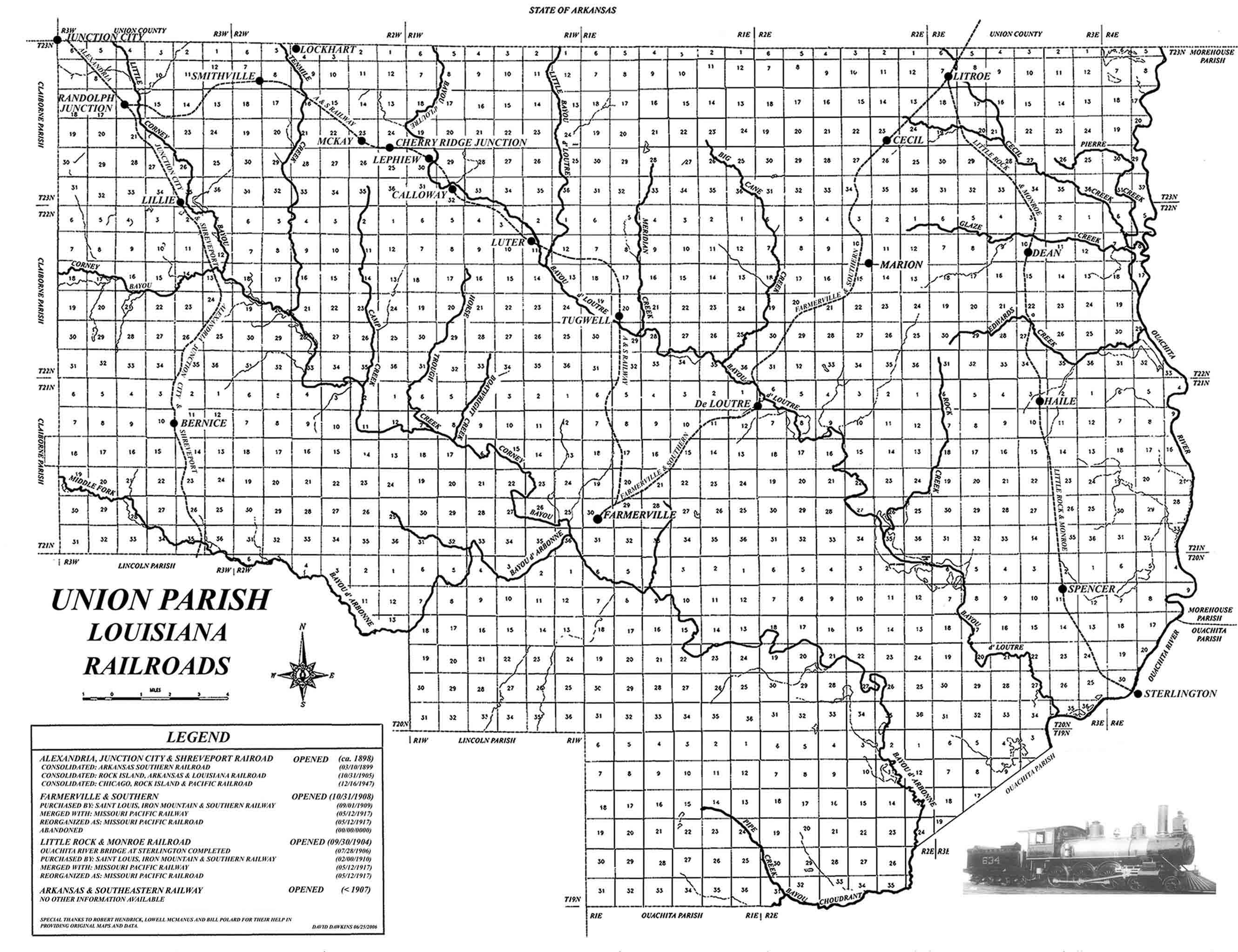 USGenWeb Archives Union Parish Louisiana Railroad Map