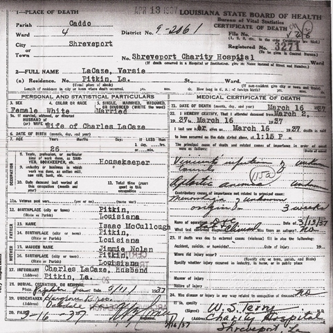 vernon parish death records