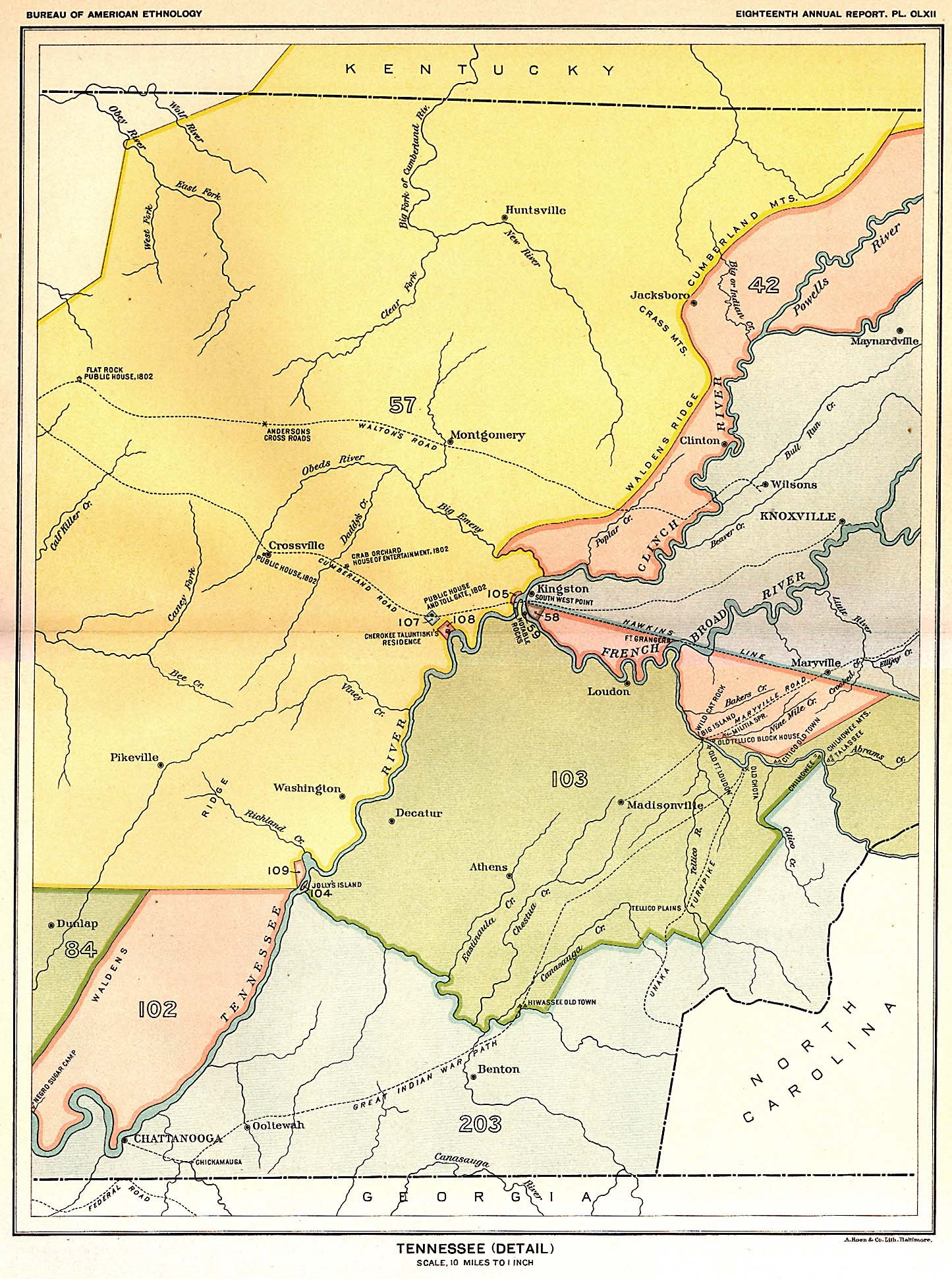 Indian Land Cessions In The U S Tennessee Detail Map