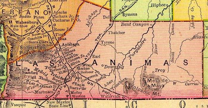 Las Animas County Colorado Maps And Gazetteers - Map of southern colorado