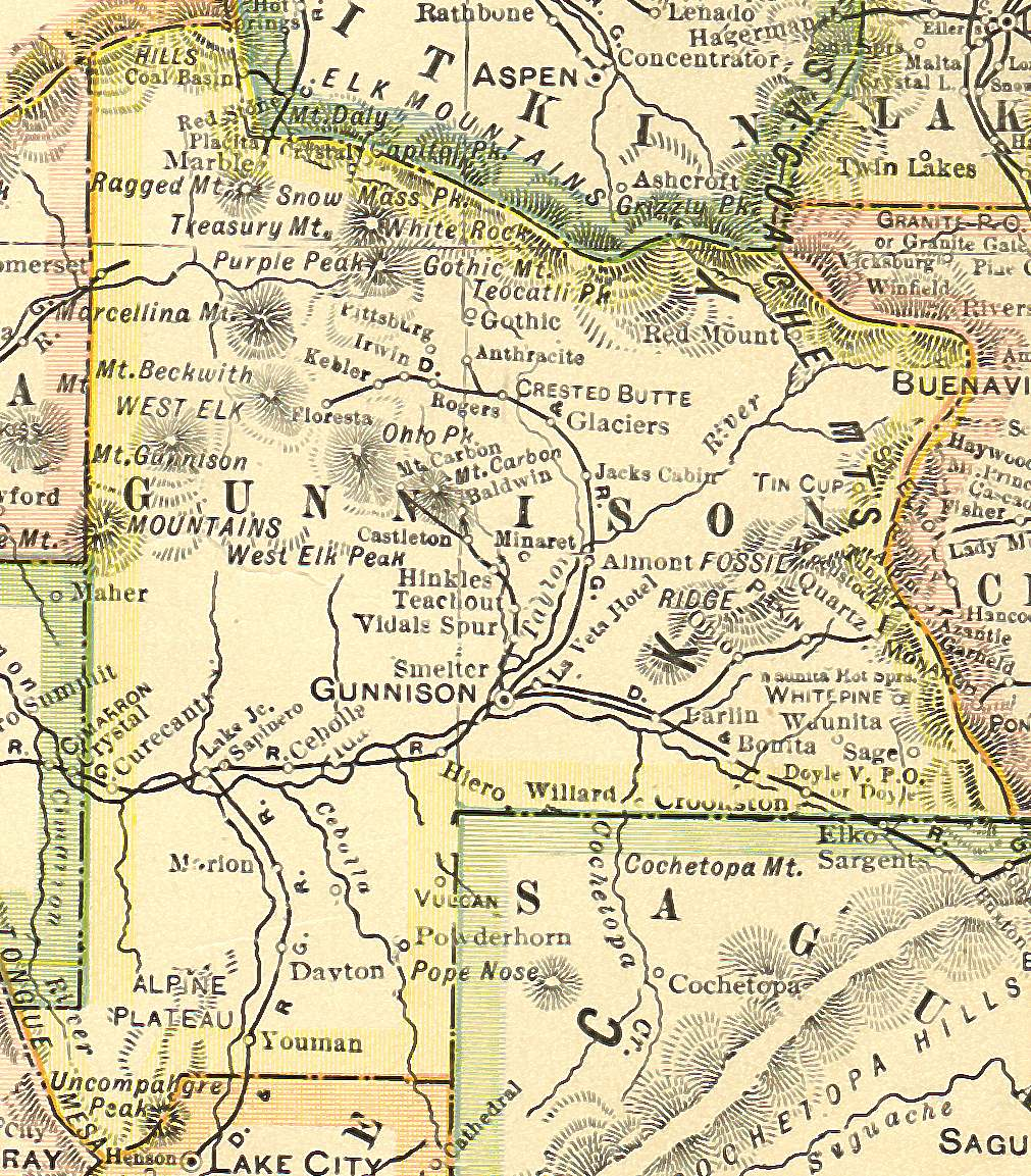 Gunnison County Colorado Map.Gunnison County Colorado Genealogy Census Vital Records