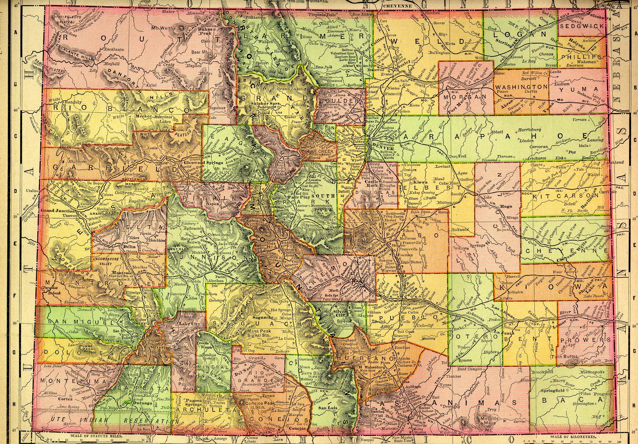 COGenWeb CO Maps - State map of colorado with cities