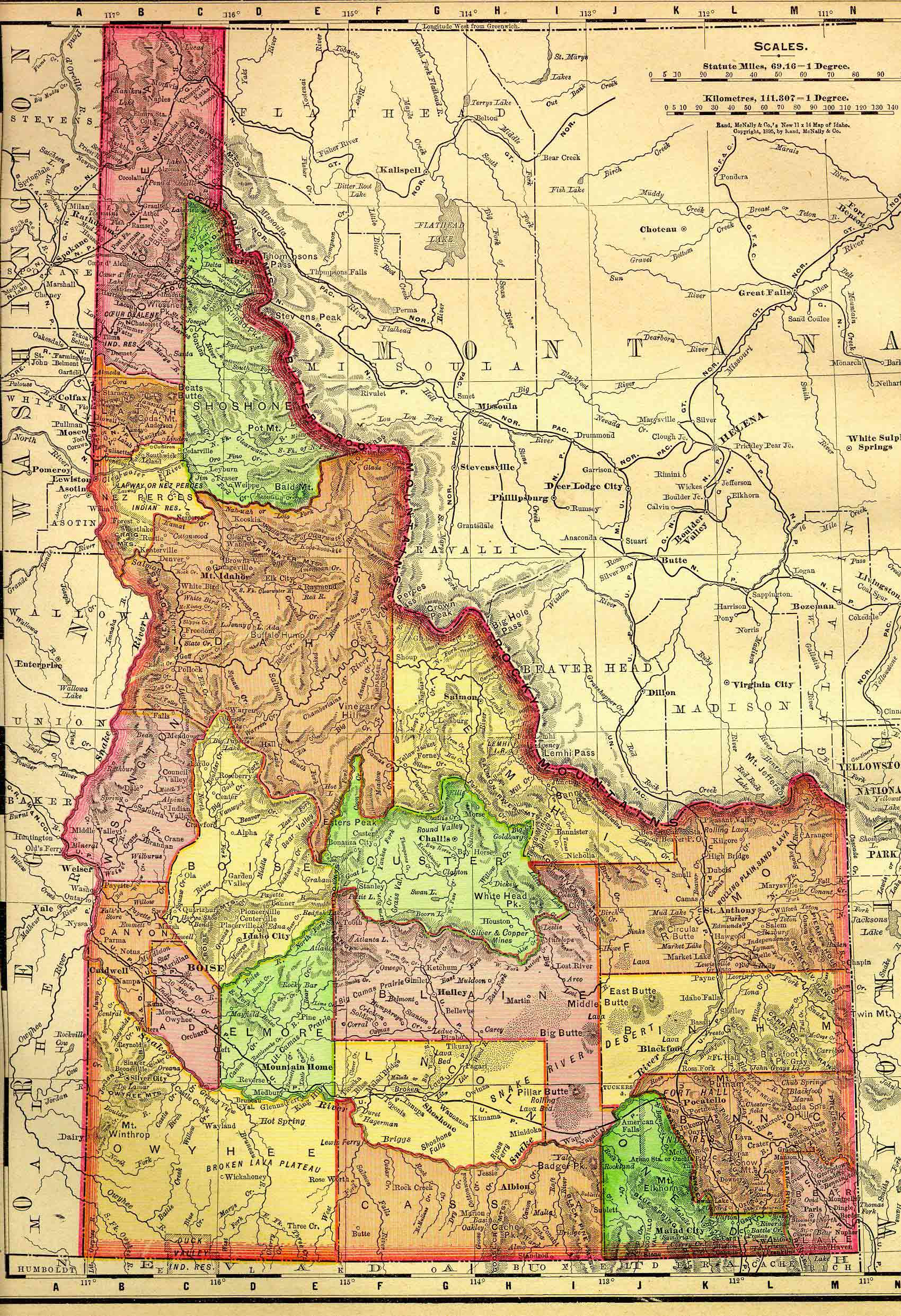 The USGenWeb Archives Digital Map Library Idaho Maps Index - State of idaho map