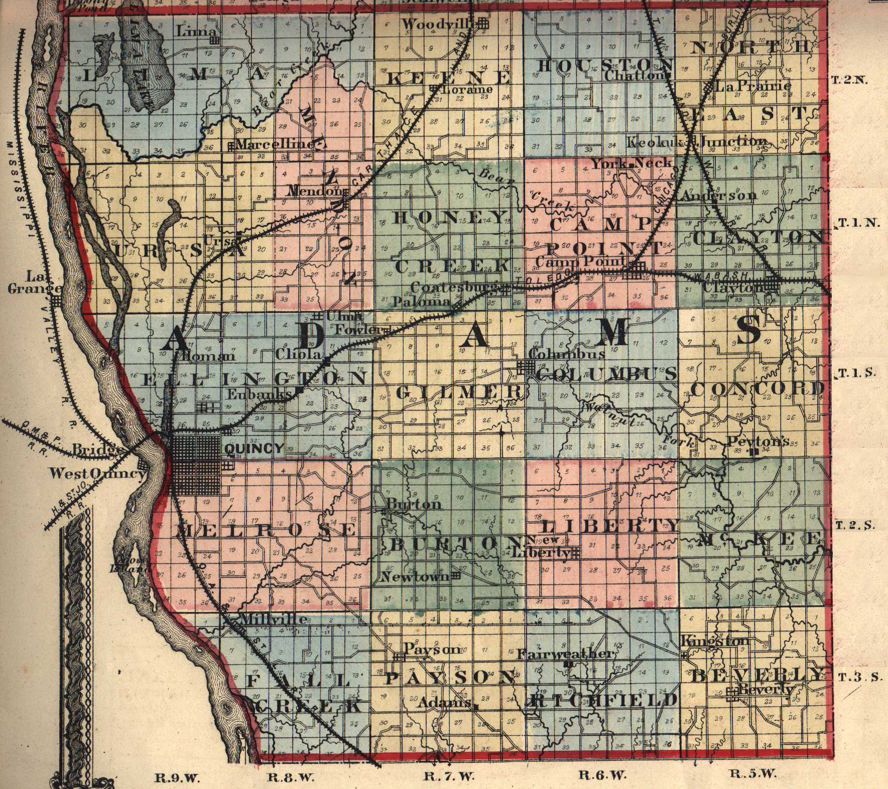 Adams County Illinois Maps And Gazetteers - County map illinois usa