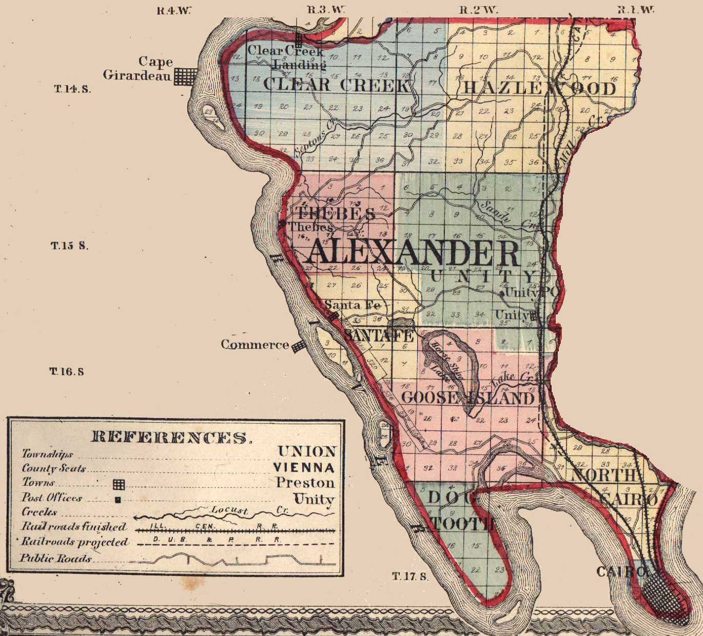 Illinois pulaski county mounds - 1920 Map Of Alexander And Pulaski County Source Genealogy Trails History Group 7 5 Minute Topographic Maps In Alexander County Identifies Cemeteries