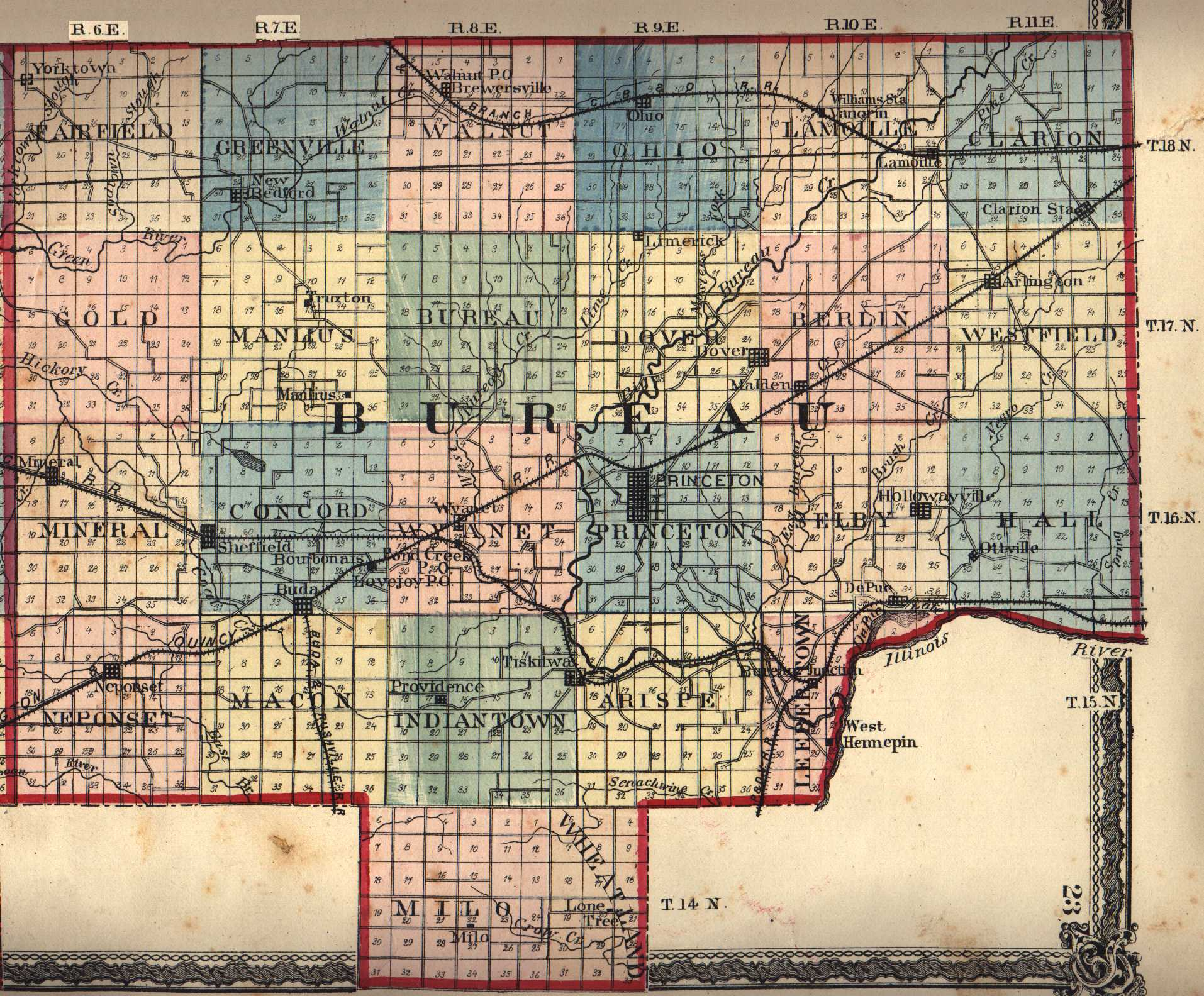Illinois bureau county princeton - 1876 Landowner Map Bureau County Source Maps Of The Past 7 5 Minute Topographic Maps In Bureau County Identifies Cemeteries