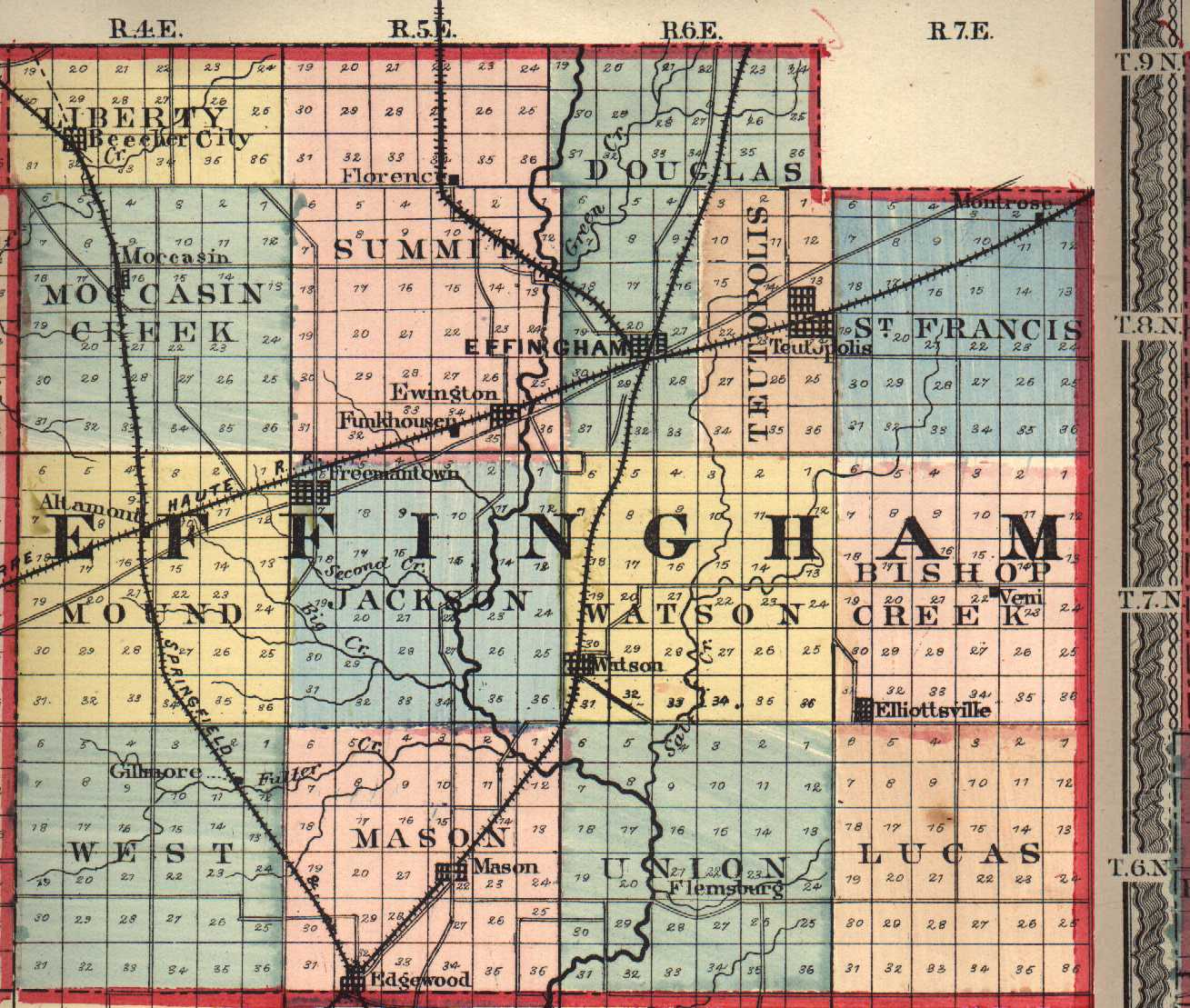 Effingham County Illinois Maps And Gazetteers - County map illinois usa