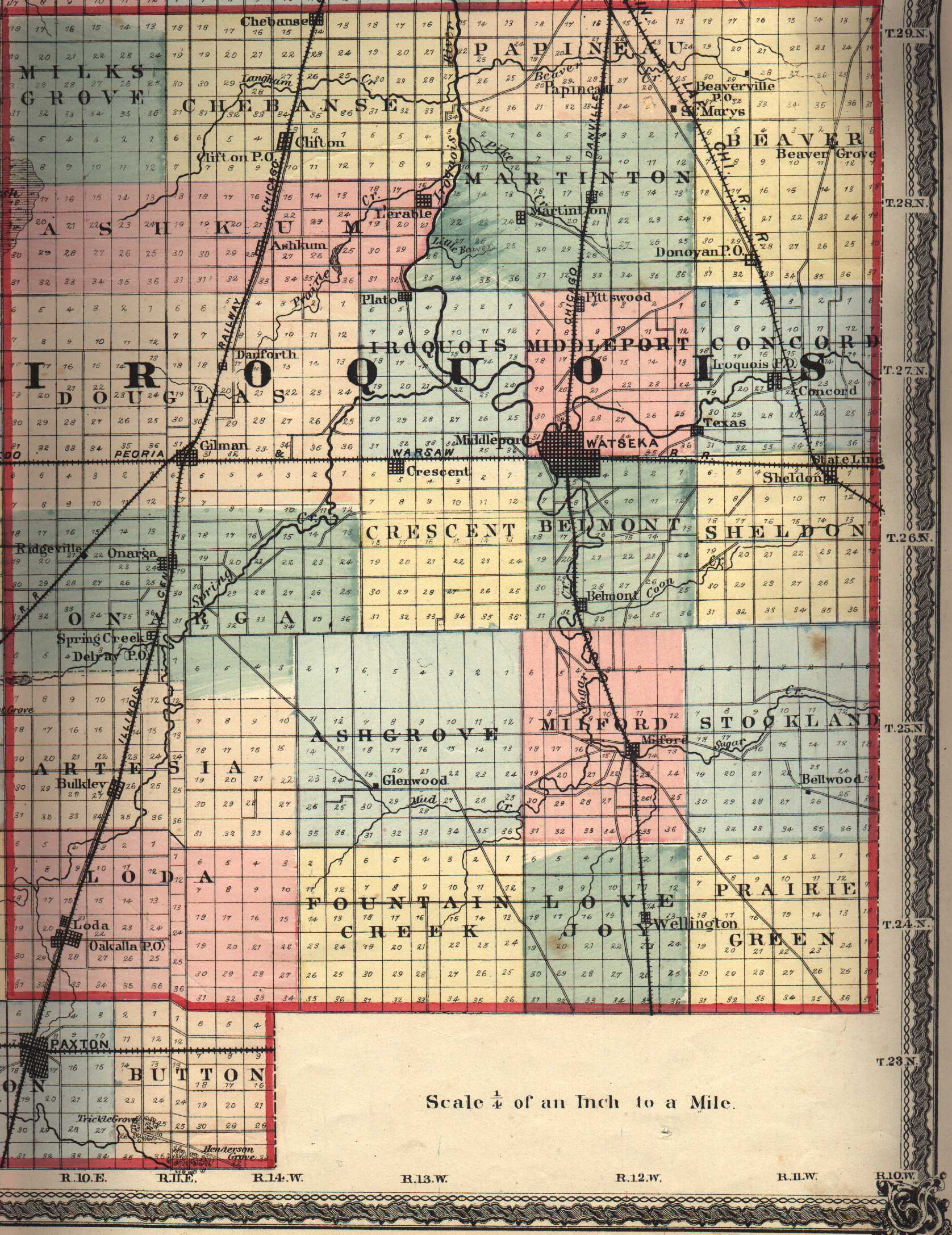 Illinois iroquois county loda - 7 5 Minute Topographic Maps In Iroquois County Identifies Cemeteries Ashkum Onarga Sectional Map Illinois Central Railroad Company 1856