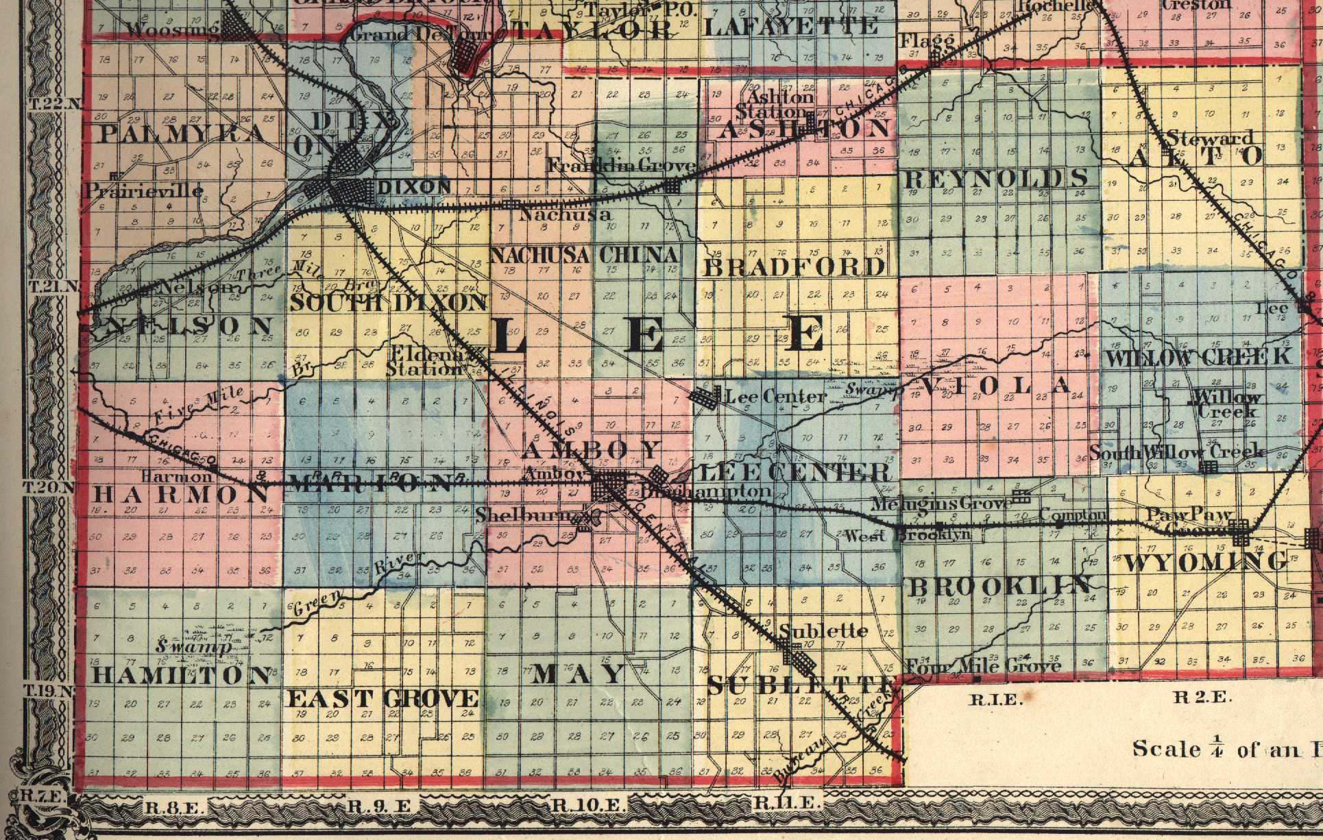 Lee County Illinois Maps And Gazetteers - County map illinois usa