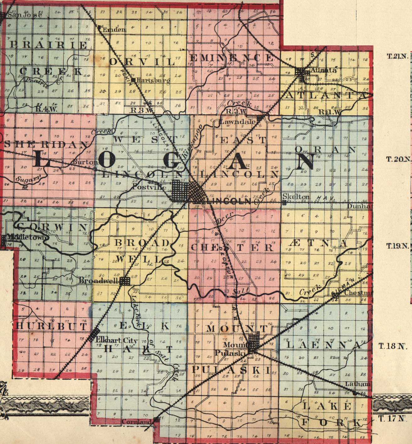Logan County Illinois Maps And Gazetteers - County map illinois usa