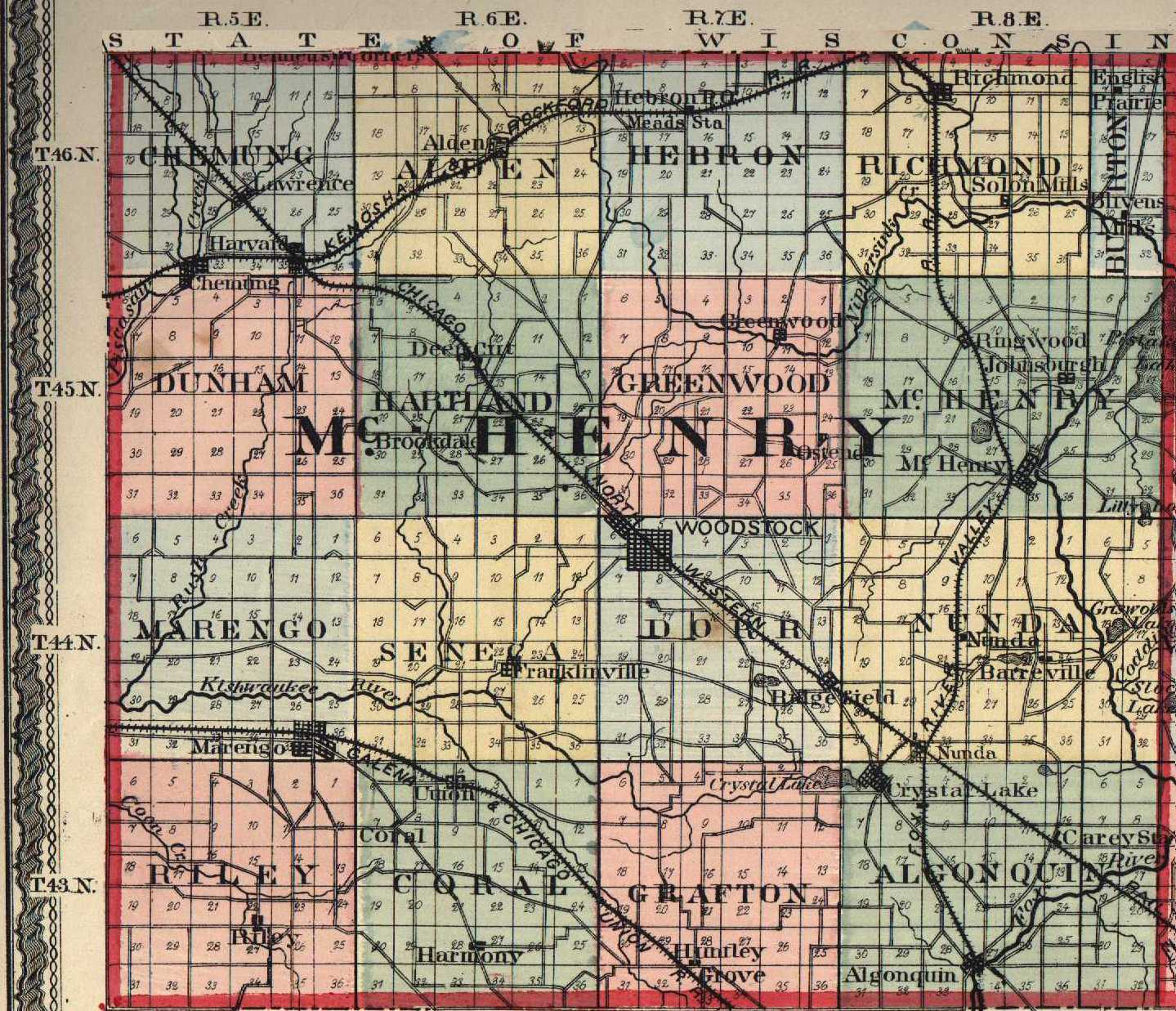 Illinois mchenry county huntley - 7 5 Minute Topographic Maps In Mchenry County Identifies Cemeteries City Town Directory Source Usgenweb Illinois Archives