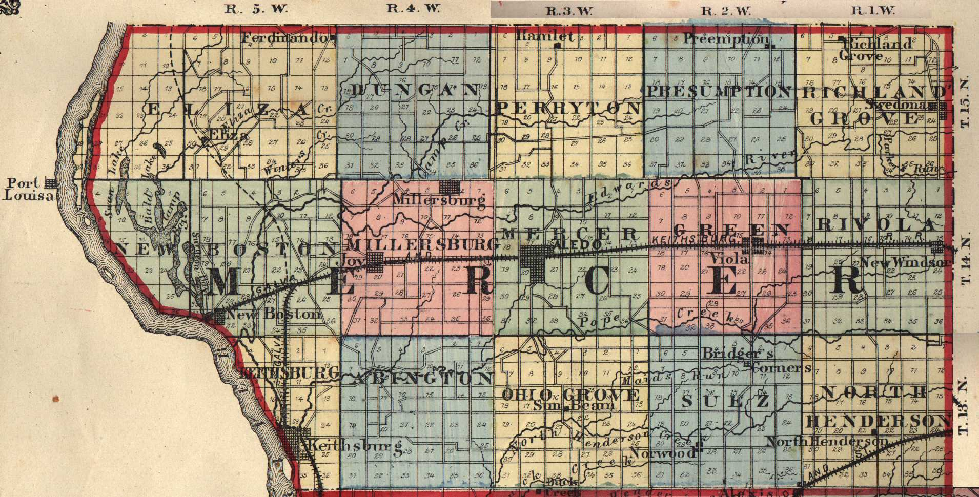 Mercer County Illinois Maps And Gazetteers - County map illinois usa
