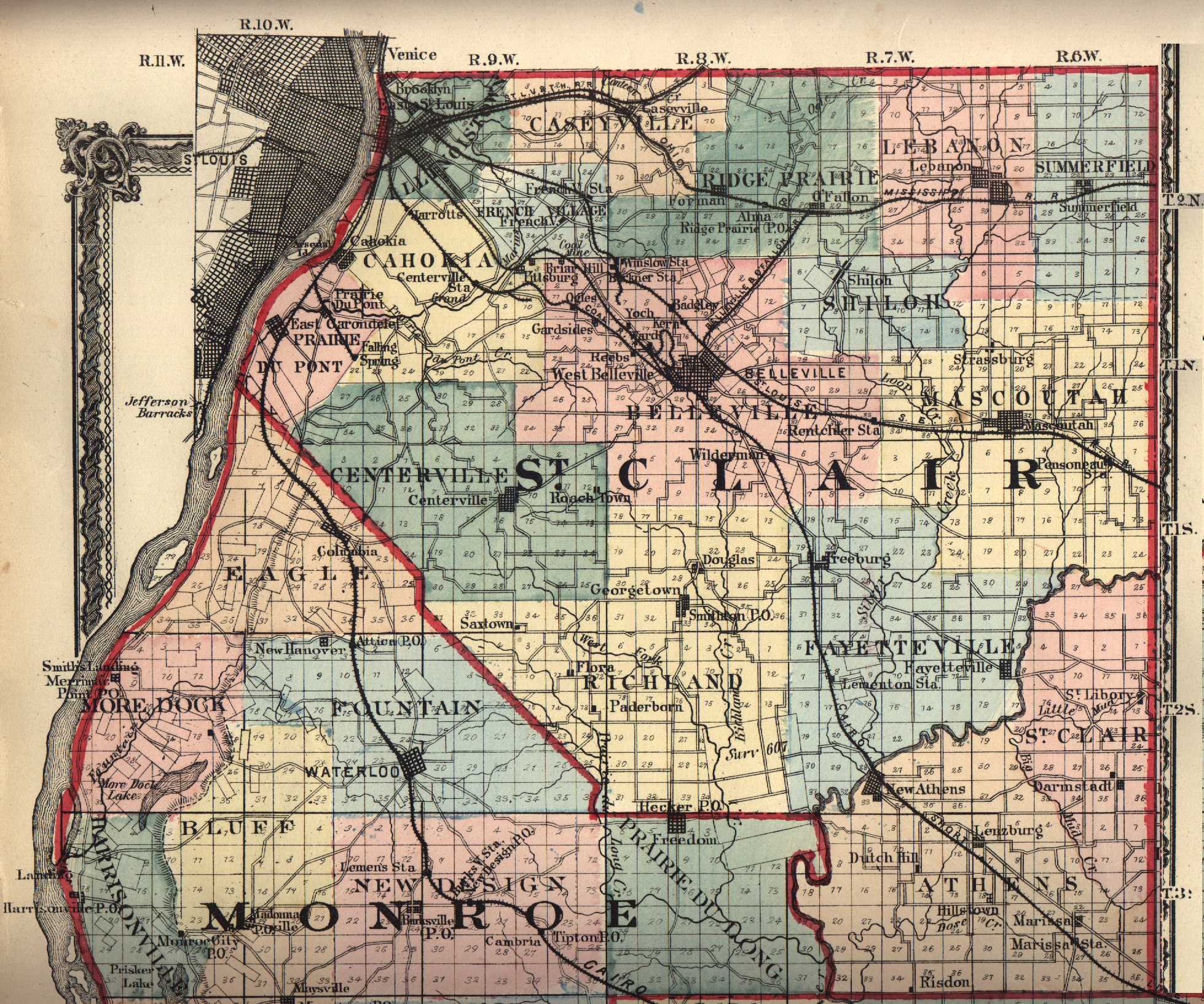Saint clair county illinois maps and gazetteers 1875 st clair county map source usgenweb illinois gumiabroncs Image collections