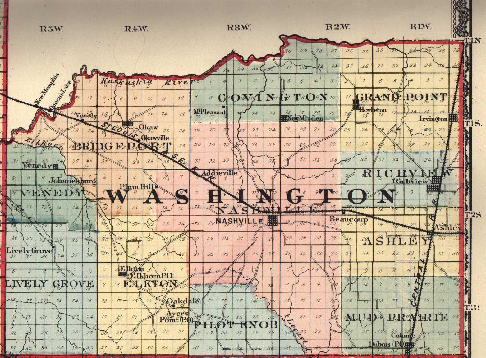 Washington County, Illinois: Maps and Gazetteers