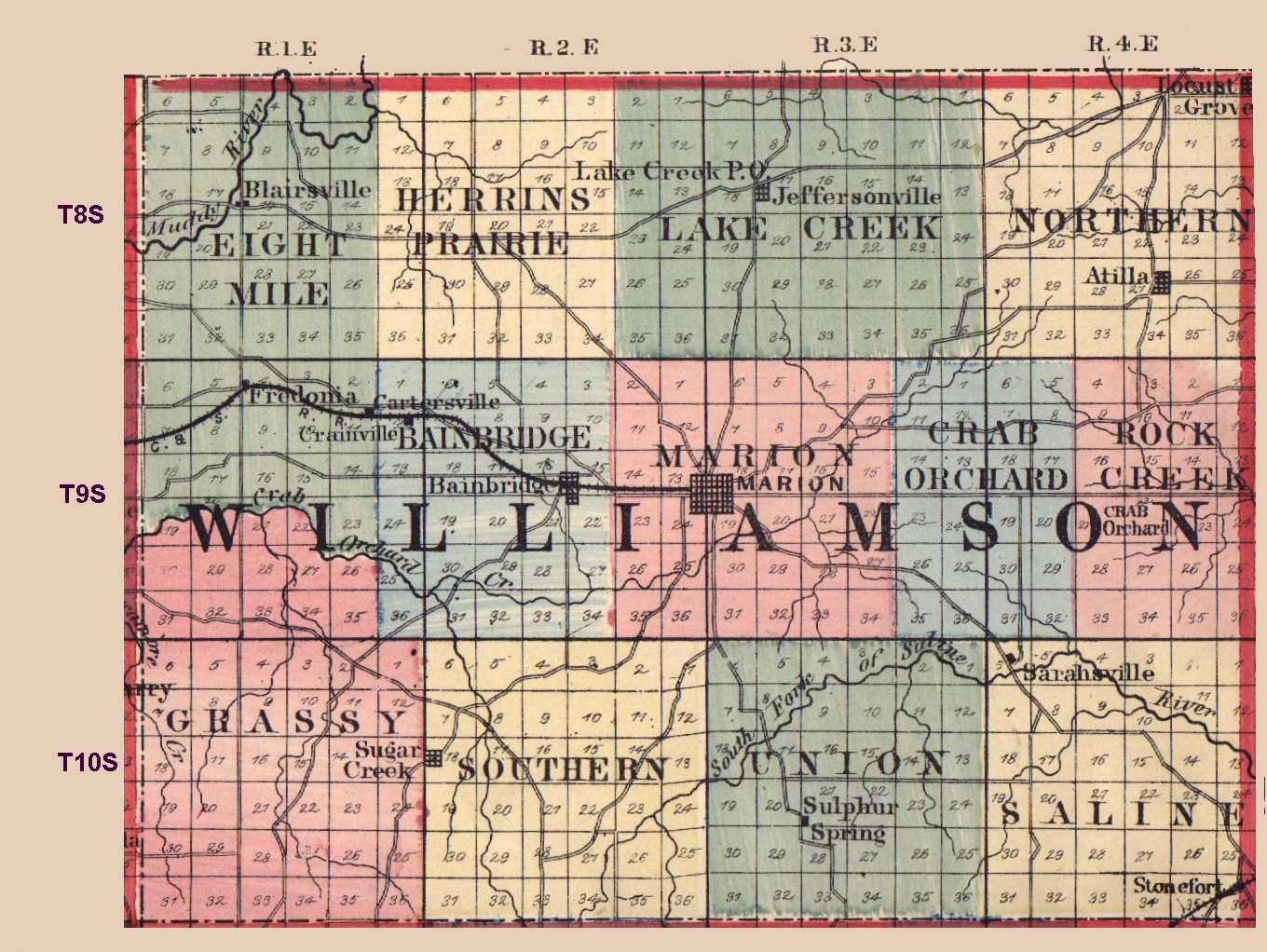 Williamson County Illinois Maps And Gazetteers Court Records Check Franklin Circuit 1875 Map Source Usgenweb