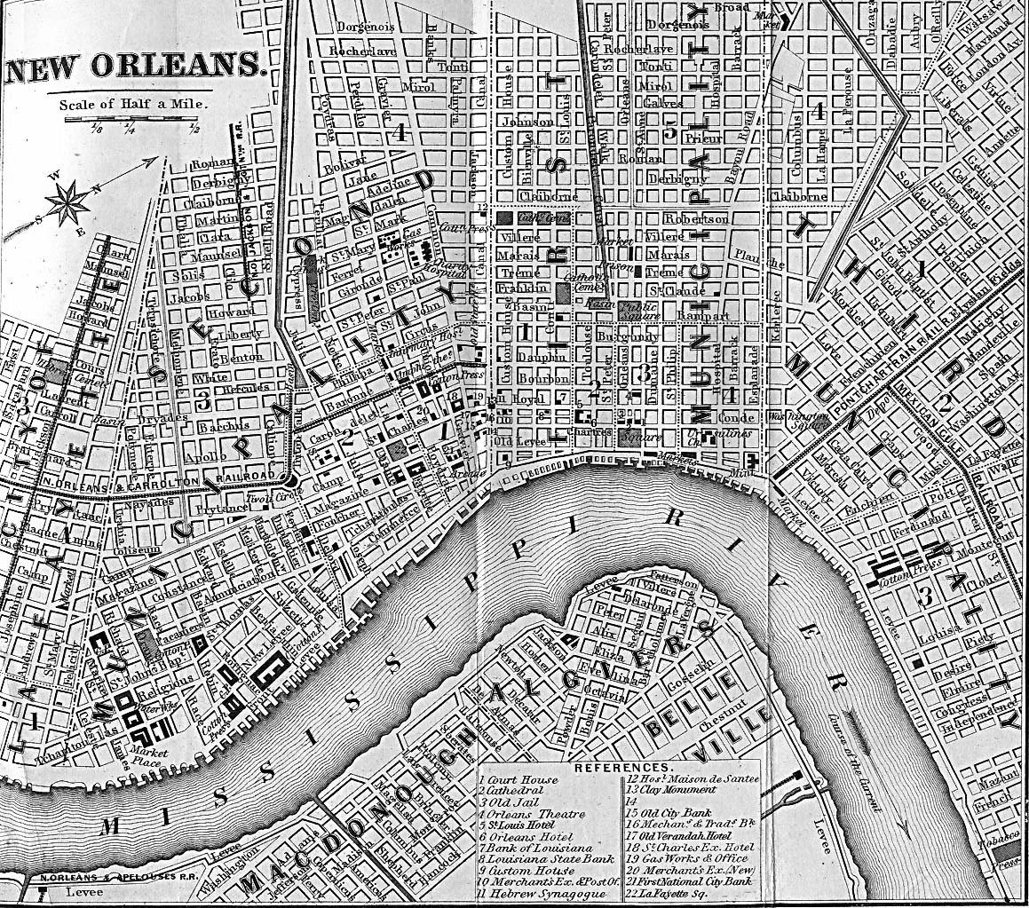 Antique New Orleans Map.Orleans Parish Louisiana Maps And Gazetteers