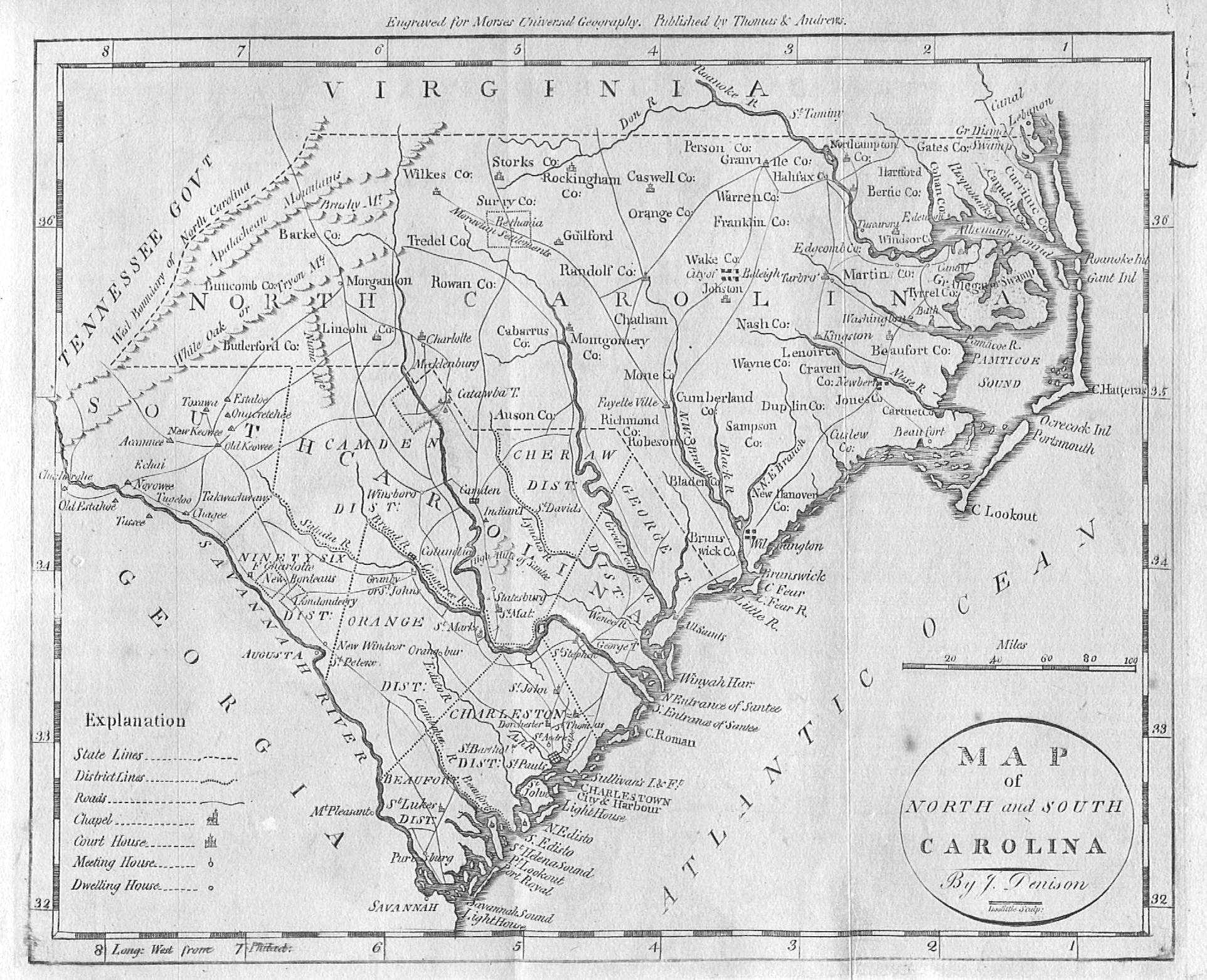 US GebWeb Digital Map Library North Carolina - Map of north and south carolina