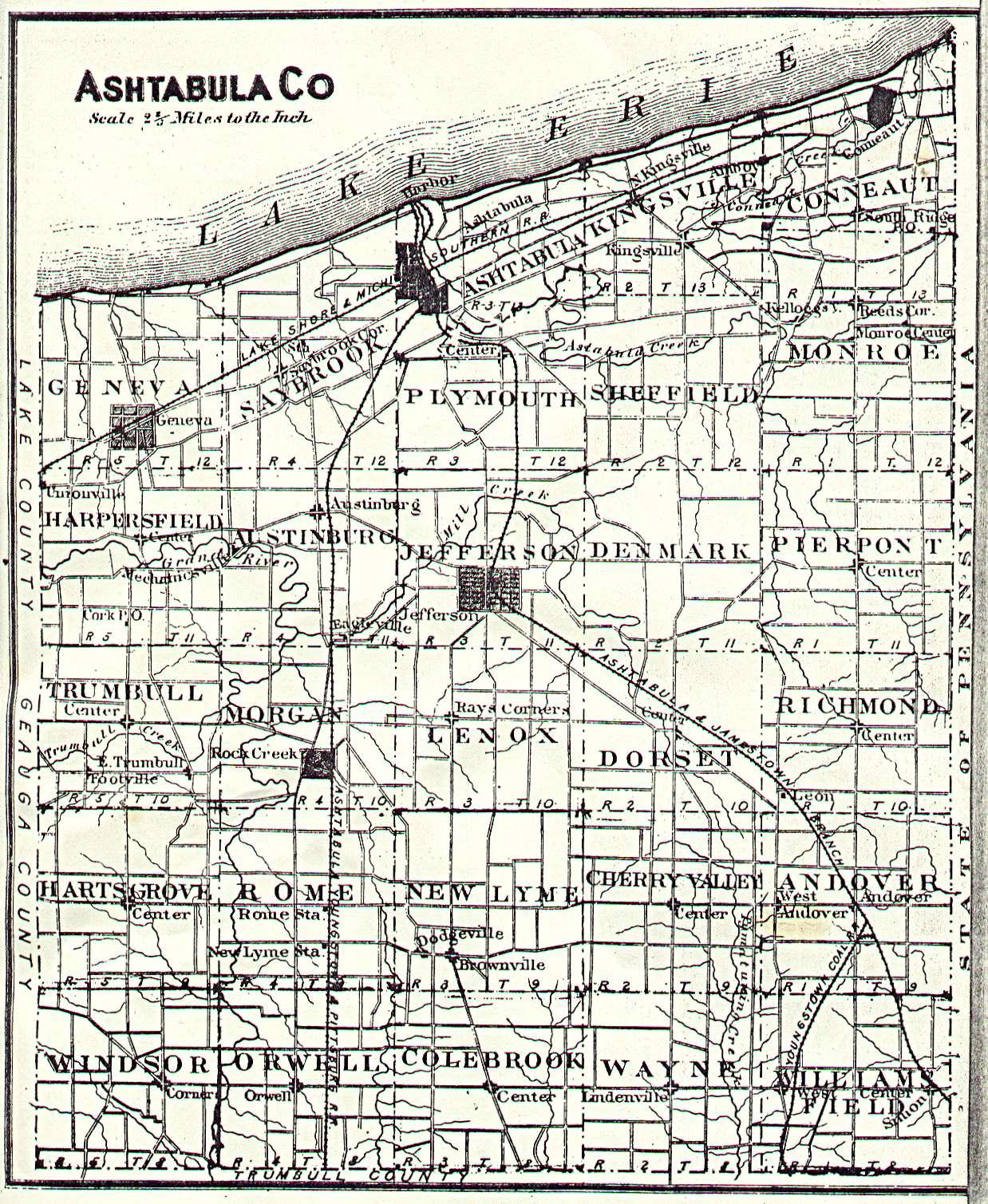 The Usgenweb Archives Digital Map Library Ashtabula Ohio