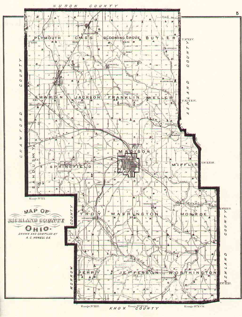 The Usgenweb Archives Digital Map Library Richland Ohio County Maps