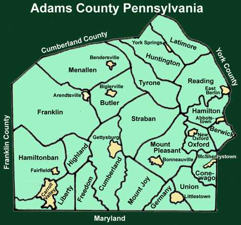 Adams County Pennsylvania Township Maps - Map of pa towns