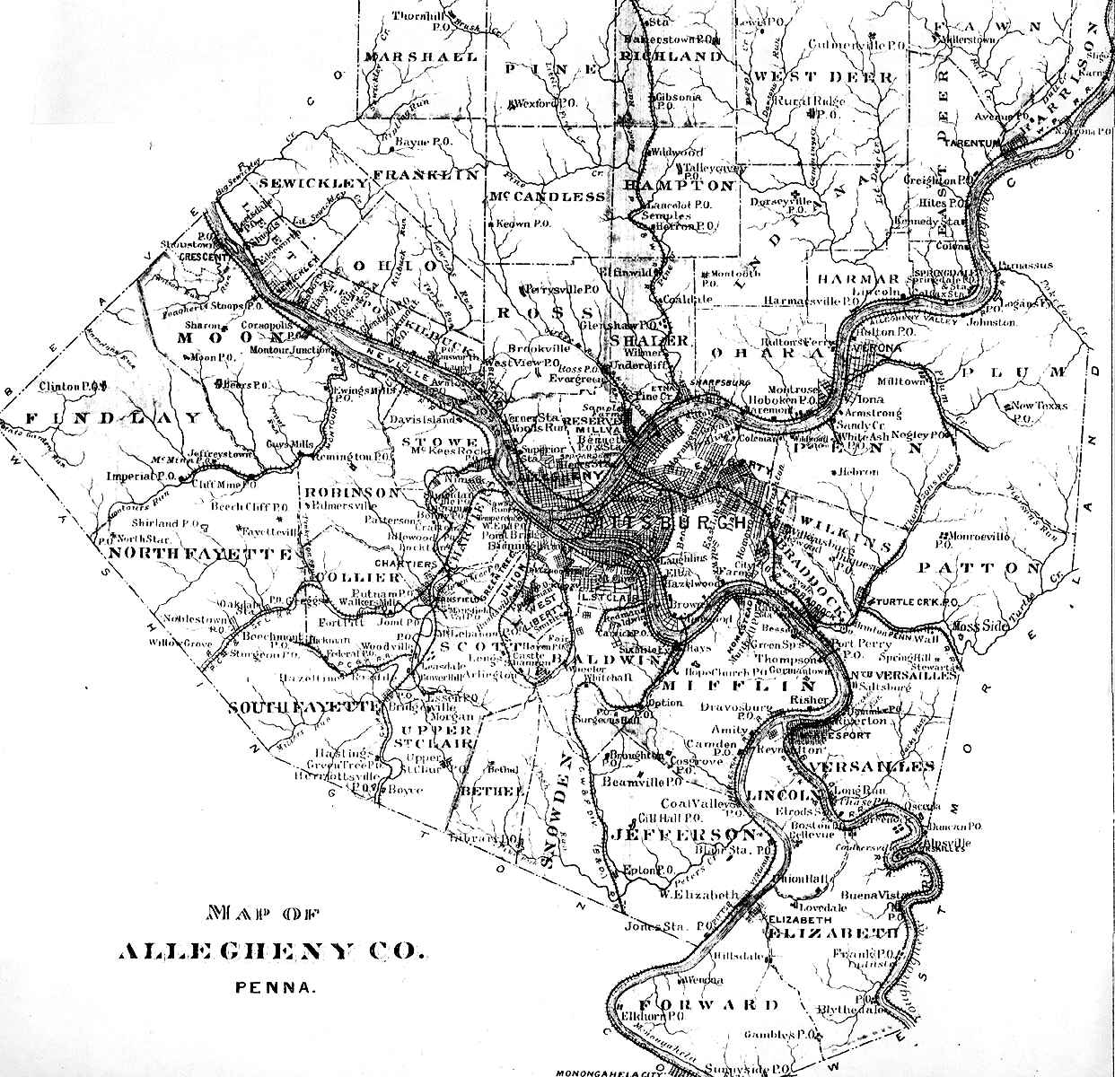 Allegheny county pennsylvania maps and gazetteers allegheny map 1889 publicscrutiny Images