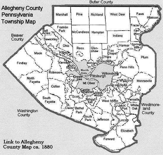 Allegheny County Map - Map of pa towns
