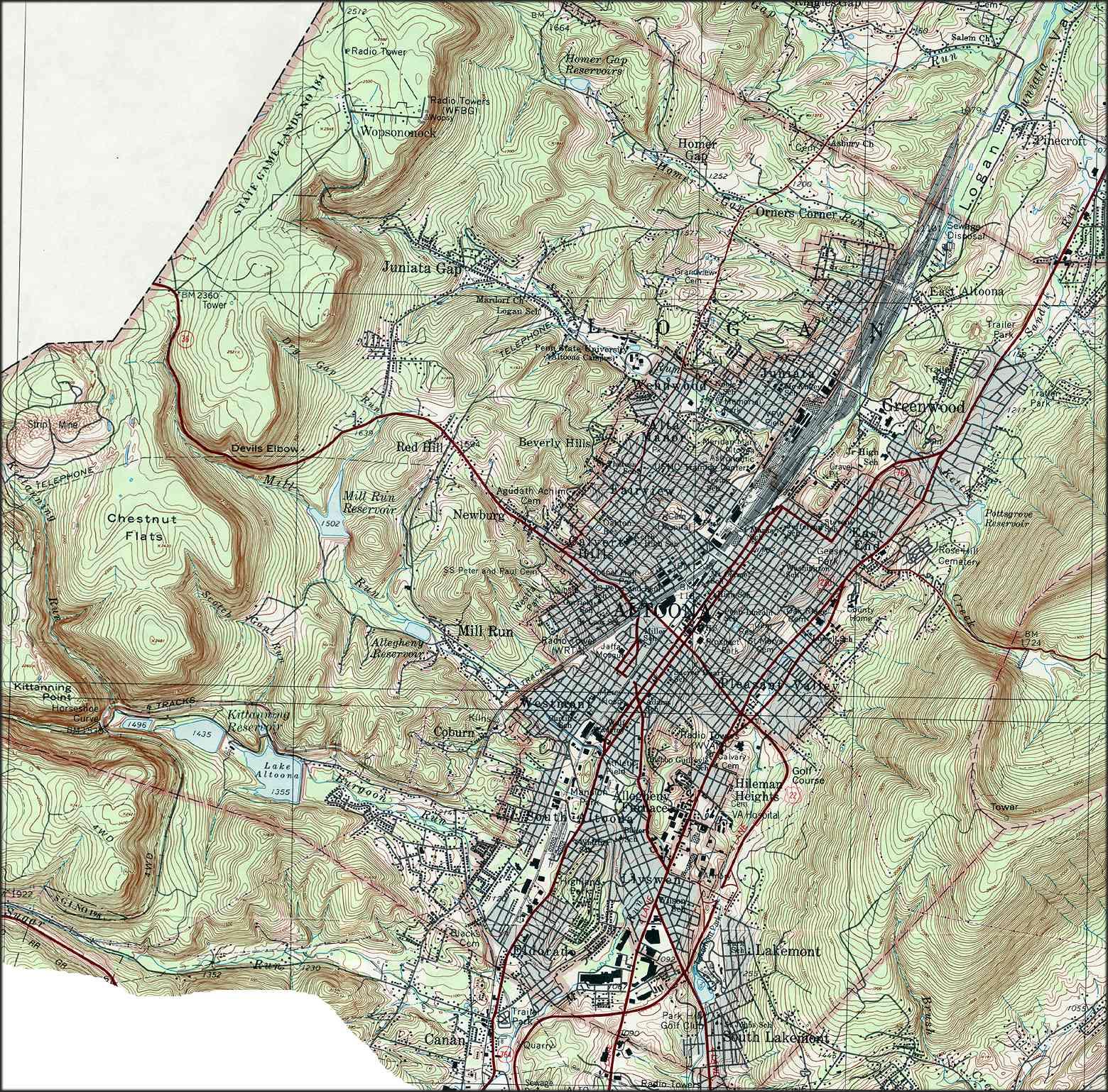 Blair County Pennsylvania Township Maps