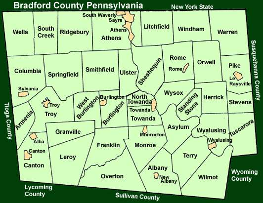 Bradford County Pennsylvania Township Maps - Map of pa towns