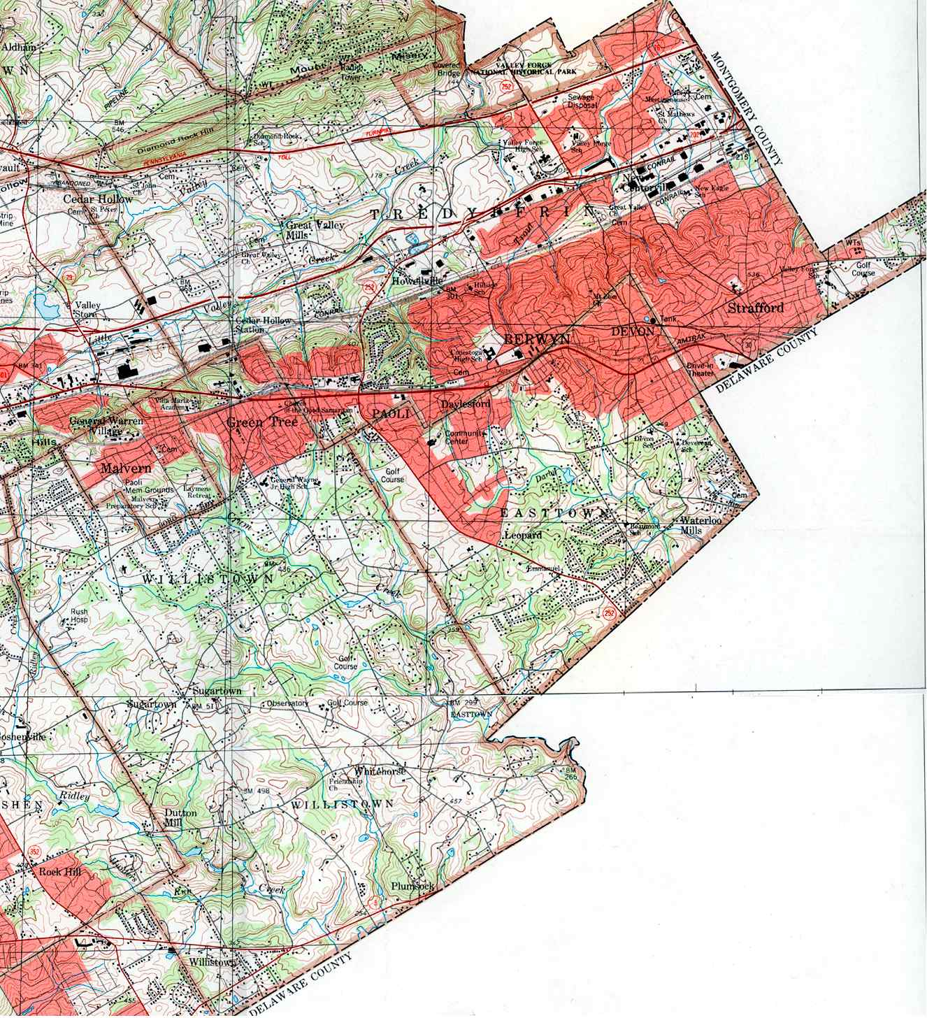 Chester County Pennsylvania Township Maps - Malvern Pennsylvania On Us Map