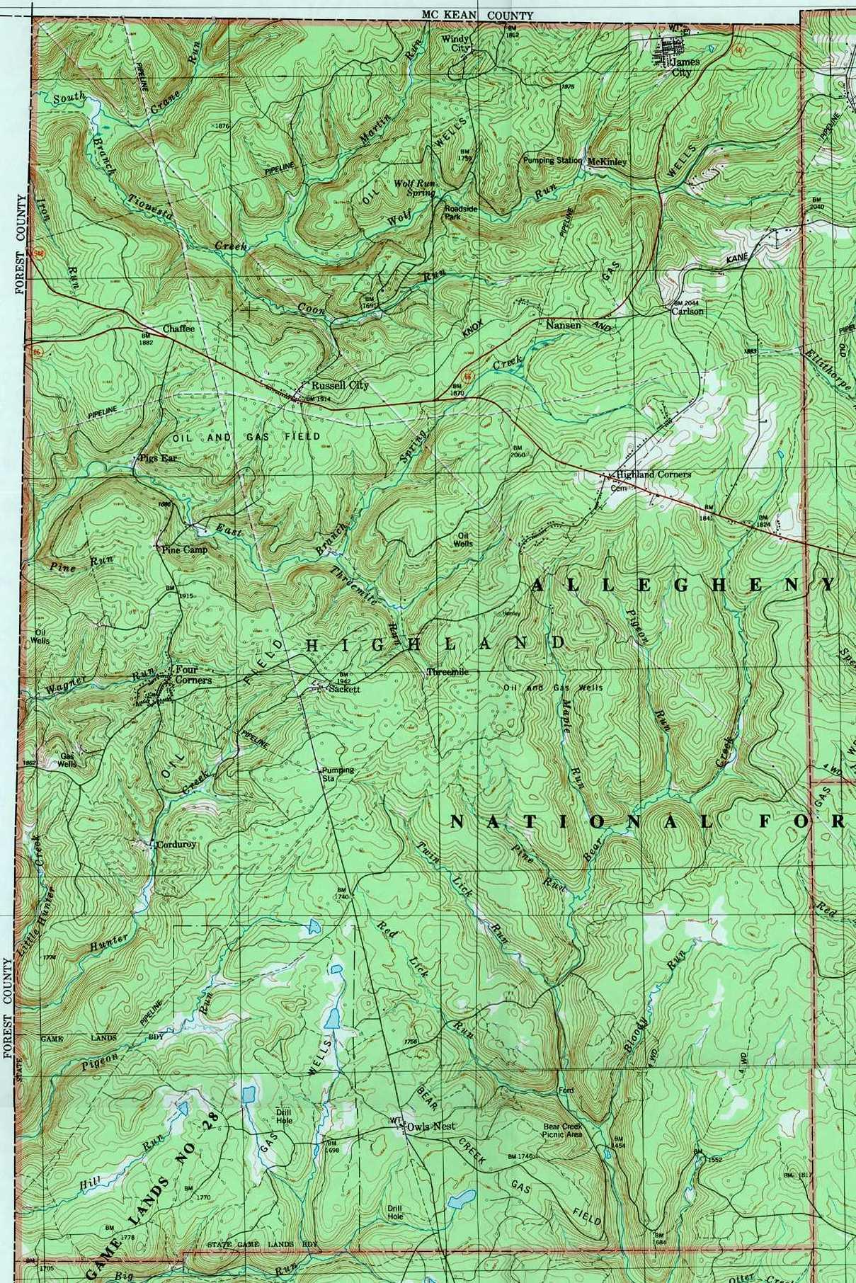 Elk County Pennsylvania Township Maps