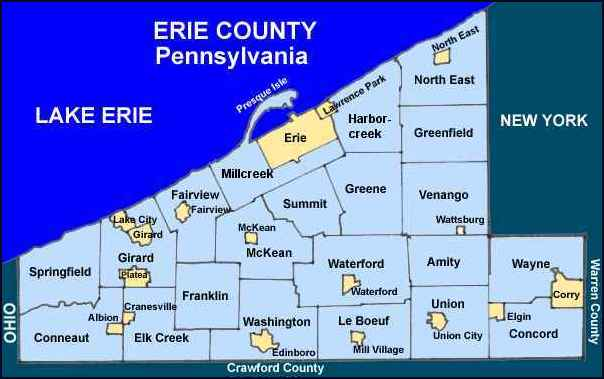 Pa State Map With Counties And Cities.Erie County Pennsylvania Township Maps