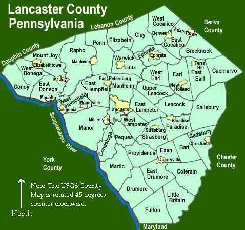 Lancaster County Pennsylvania Township Maps - Map of pa towns