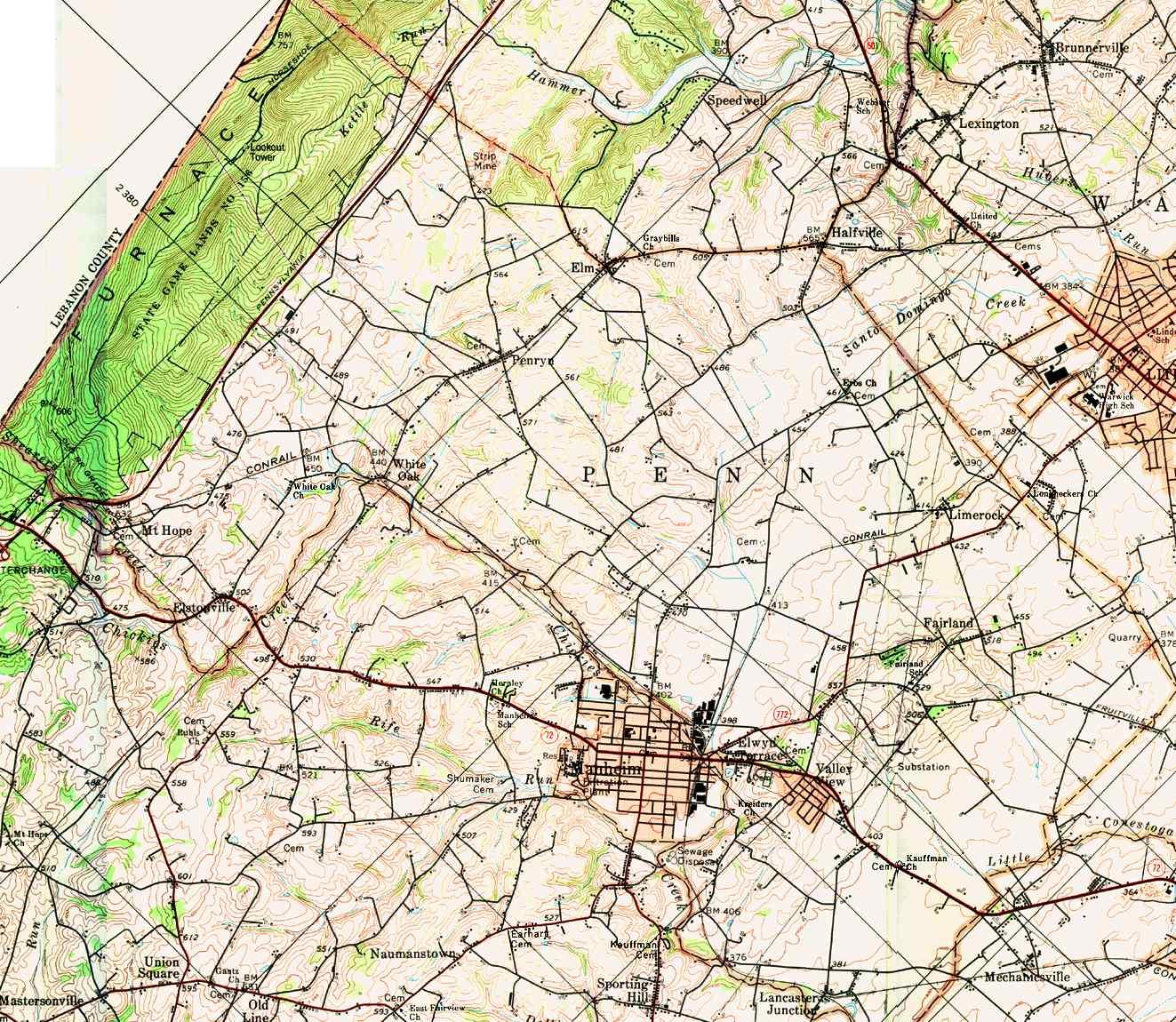 Lancaster County Pennsylvania Township Maps - Map of penn